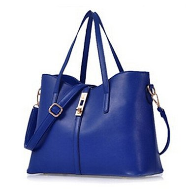 Donne Tote PU tutte le stagioni outdoor casual Shopper Zipper Black Rose Rosa Blu Vino bianco,vino Rose Pink