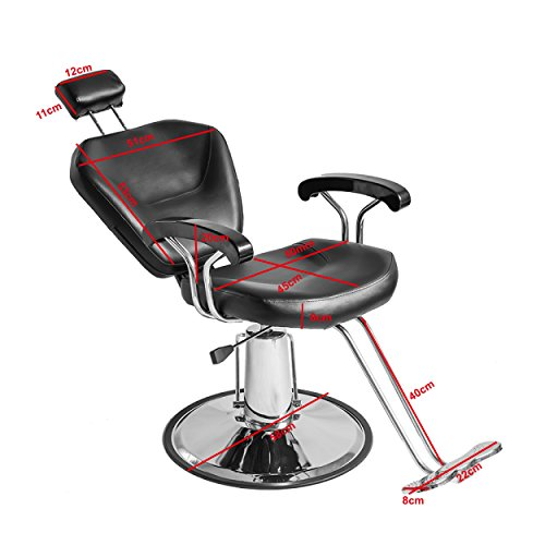 Tuff Concepts Salon Beauty Hairdressing Chair Black Adjustale Reclining Barber Chair