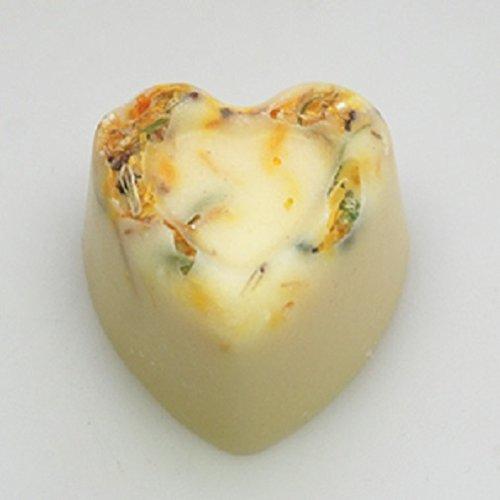 Badebutter Herzen Set 3 Stück x 18 g mit Ringelblume bestreut und Limette-Grüner Tee Duft (Grüner Tee Limette)