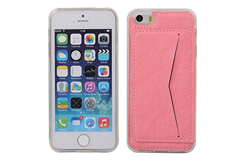 Coque Apple iPhone 5 5S, Forhouse Ultra Mince Doux Flexible TPU Cover Flip PU Cuir Card/Cash Holder on Case with Kickstand Poids Léger Full Protector Anti-Rayures Shockproof Cover pour Apple iPhone 5  Rose
