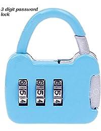 Unique Gadget 3 Digit Metallic Number Lock Small Bag Lock Travel Lock Luggage Re-Settable Password Locks Combination Padlock - LOCKCR13B