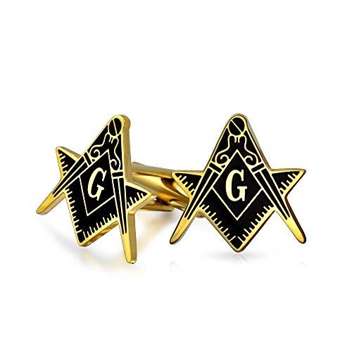 Bling Jewelry Compas Maçonnique Les Francs-Maçons De Manchette Symbole pour Homme Deux Tons Noir Acier Inoxydable Plaqué Or Charnière