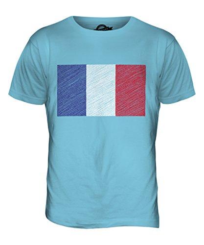 CandyMix Frankreich Kritzelte Flagge Herren T Shirt Himmelblau