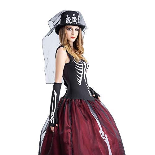 NFY Skelett Braut Kleid Halloween Damen Jumpsuit Kostüm Geeignet Kleiderparty Fasching Karneval,M