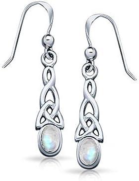 Bling Jewelry Sterling-Silber Edelstein Keltischer Knoten Oval Mondstein Ohrhänger
