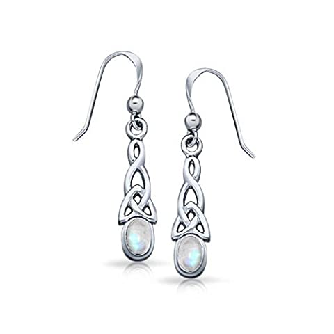 Silver Celtic Knot Oval Moonstone Dangle Earrings