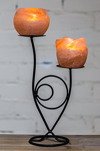 Klass home collection® - portacandele in salgemma naturale dell'himalaya, con supporto in ferro battuto, metallo, pink, double holder