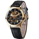 Winner Reloj para Hombre Automático Esqueleto mecánico Dial 3-Pointer Correa de Cuero Negocio Cubierta Trasera Transparente Reloj para Hombres,Black