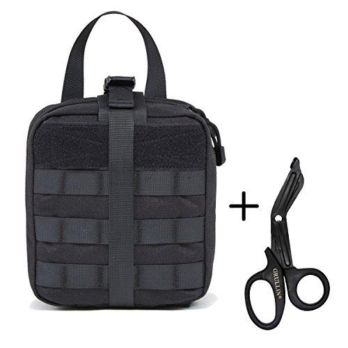 Taktischer Molle Rip Away IFAK Beutel(Leer)+Edelstahl Bandage Schere Set-1000D Nylon EMT Tasche Mit Medizinische Shears Erste Hilfe Pouch Set (Emt Erste-hilfe-kits)
