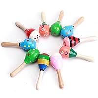 HertHt Baby Musikspielzeug Holz Maracas Rassel Set 2 Stück Pädagogische Spielzeug mit eingentliche Farben und Muster