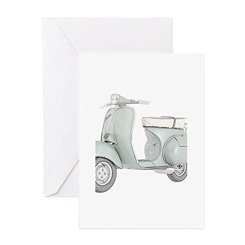 CafePress–1959Piaggio Vespa–Grußkarte, Note Karte, Geburtstagskarte, innen blanko, glänzend (Britische Motorräder Vintage)