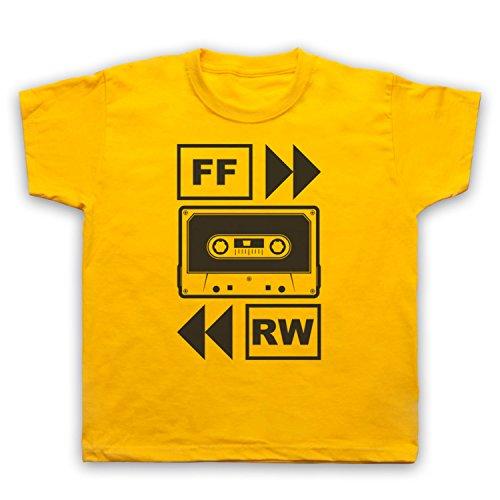My Icon Art & Clothing Fast Forward Tape Cassette Camiseta para Niños, Amarillo, 1-2 Años