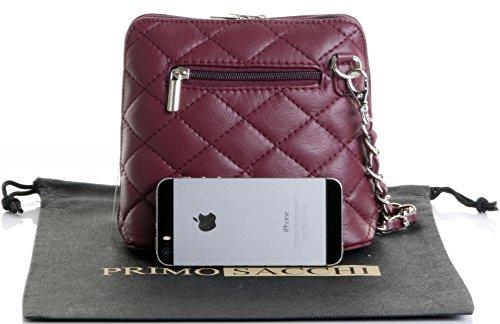 Borsa di cuoio italiano Design classico diamante forma borsa tracolla imbottita, con catena in metallo e cuoio, maniglie / tracolla include una custodia protettiva marca Mini rosso scuro