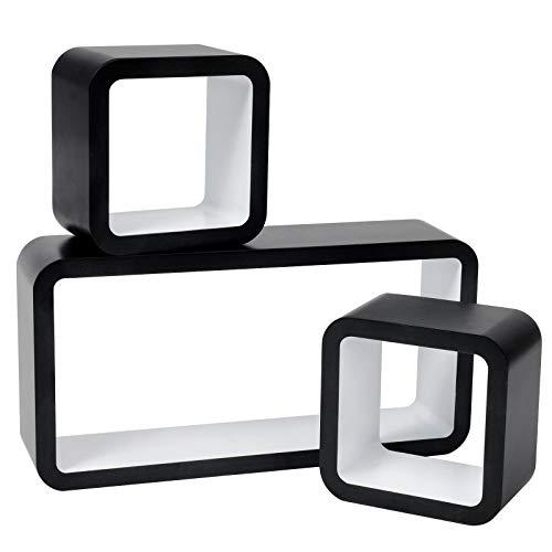 WOLTU RG9248ws Lot de 3 Étagère Murale Salon du Cube rétro Étagère,étagère Cube Murale en Bois MDF,étagère CD DVD Murale,Noir Blanc