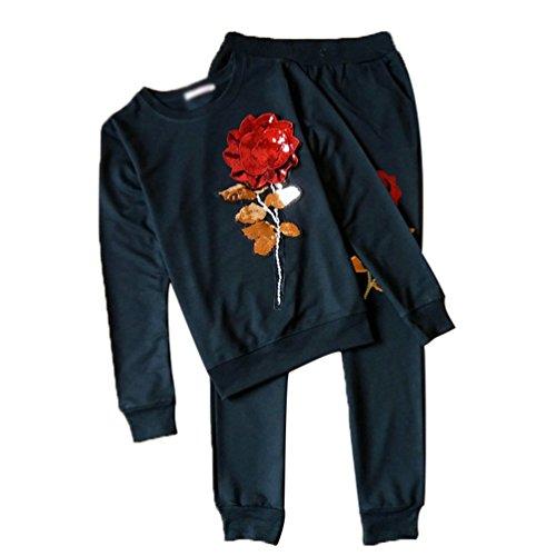 ZKOO 2pcs Trainingsanzüge Damen Jogginganzug Rose Sweatshirt Hausanzug + Hose Loungewear Sportanzug Set Schwarz