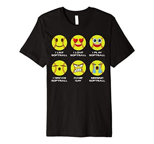 T-Shirt I Love Softball Emoticon Social ()