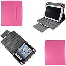 Housse universelle luxe tablette 8 pouces Ultra Slim Style cuir rose - Pochette de protection universelle Multi Stand pour : Samsung Galaxy Note 8.0, Archos 80 titanium, G9, XS, MPMAN MP843, MPDC8 BT, MPDC88...