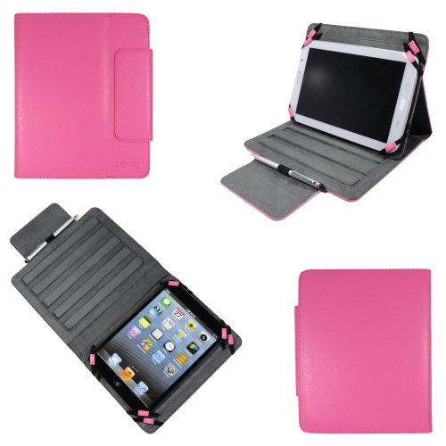 Universal tablet PC tasche 8 zoll Rosa Ultra Slim Leder Style Xeptio mit Ständer - Tasche Hülle Schutzhülle Case Cover für Samsung Galaxy Note 8 N5100 N5110, Acer Iconia A1-810, Odys Neo S 8 Plus, Neo X 8, Xpress/Xpress Pro, Vision, Technaxx Techtab, Intenso TAB814 5510862, Intenso Intab, Captiva Pad 8, Arnova 8 Home Tablet, I-onik tabletpc TP8-1200-metal, TP8-1000, TrekStor SurfTab Ventos 8.0, Blaupunkt Endeavour 800, Prestigio MultiPad 8.0 Pro Duo / 5080 PRO, Archos 80 Titanium... (Zubehör XEPTIO - PU Leder - Rosa/Pink)