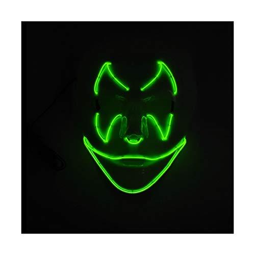 YOIO LED-Maske Fledermaus-Smiley-Party-Party EL Kaltes Licht Strahlungsmaske, Fluoreszierend grün