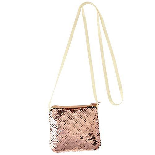 CHIC DIARY Kinder Mädchen Pailletten Tasche Cartoon Schultertasche Geldtasche Handtasche süß klein quadratisch mit Kette