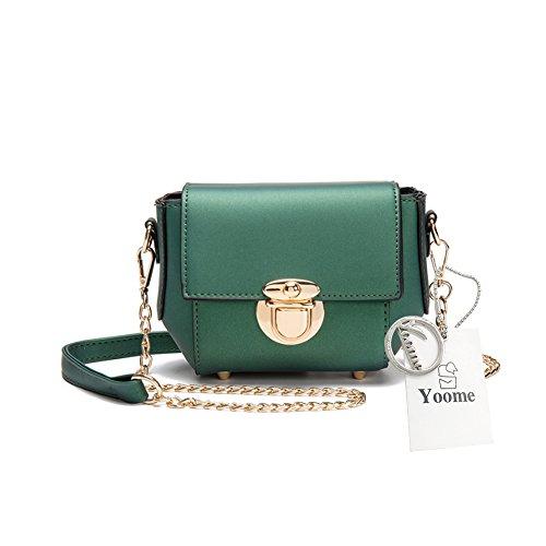 Yoome Casual Elegant Crossbody Chain Lock Borsa Fibbia Nuovo Chic elegante Borse eleganti lisce per le donne - Khaki verde