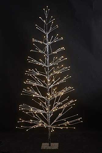 HILIGHT LED Weihnachtsbaum mit 296 warmweißen LEDs und Schneedeko 180 cm braun für Außenbereich geeignet Christbaum Tannenbaum Zweige und Äste Biegsam inkl. Metallständer