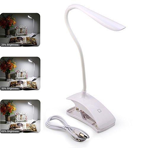 LED Schreibtisch Lampe, GEREE Tragbarer Tisch Lampen Touch Control eye-protected Lesen Book Light für Studium, Arbeit, Camping, 3 Level Helligkeit