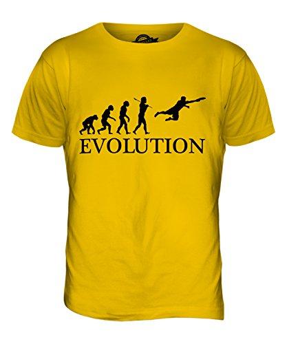 CandyMix Ultimate Frisbee Evoluzione Umana T-Shirt da Uomo Maglietta Giallo Scuro