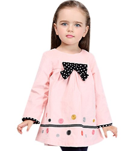 Surenow Vestito da Bambina in Cotone Manica Lunga con Cravatta
