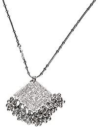 The Indian Handicraft Store Flower Diamond Ghungroo Chain Necklace
