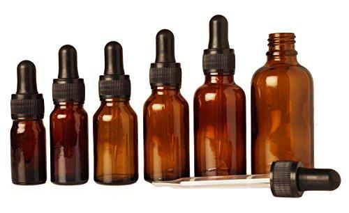 Lot de 6 ambre vide flacons compte-gouttes de l'oeil de verre gros flacon d'huile essentielle de chute rechargeable boston rondes flacons de 10 ml de sérum pipettes