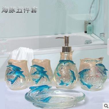 Elegante bagno creativi 5 Pezzo Dolphin Home forniture bagno vanità 5 Resina pezzo