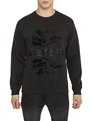 Felipe Moda da Uomo, Top Vintage Fashion Rock, Felpa Metallica 3D, Nera con Stampa - MR ROCKER Designer Sweatshirt di Cotone, Girocollo, Manica lunga, Tops Urban Cool per Uomo S M L XL XXL