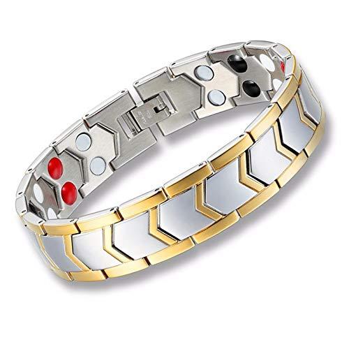 YTTY Herrenmode Metallprodukte Schrauben Kette Kette Armbänder Titan Stahl Gold Doppelreihige Magnet Armband Herren Titan Stahl Armband, Überzogenes 18 Karat Gold