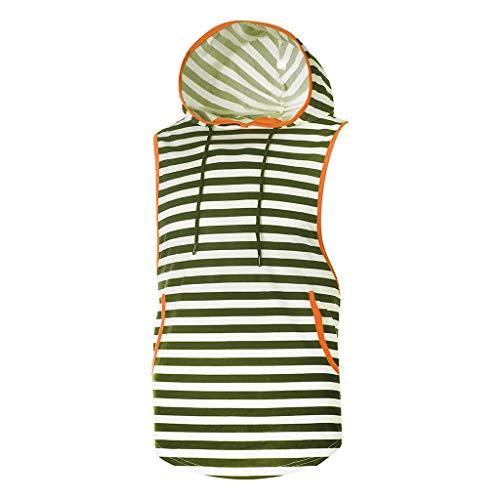 EUCoo Uomo T Shirt Senza Maniche Bar Striscia Tee con Tasca Benda Felpa con Cappuccio Gilet Manica Corta Tops(Army Green,Medium)
