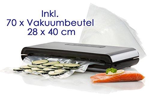 DOMO Vakuumierer, Folienschweissgerät - Luftdicht verschließend inkl. 70 Vakuumbeutel 28 x 40 cm