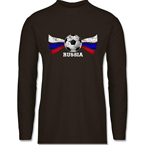 Shirtracer Fußball-WM 2018 - Russland - Russia Fußball Vintage - Herren Langarmshirt Braun