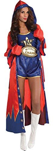 Karnevalsbud - Damen Knockout Boxerin Komplett Kostüm Karneval , Blau, Größe - Ko Champ Kostüm