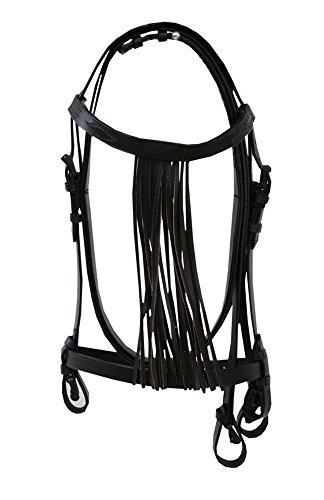 Amesbichler AMKA Spanische Trense mit Leder Fransenstirnband und Lederzügel | Vaquero Zaum, schwarz