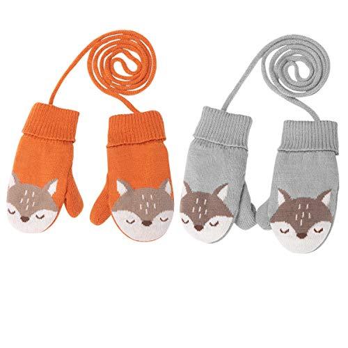 DORRISO DORRISO Niedlich Fuchs Kinder Frühling Winter Handschuhe Fäustlinge Baby Karikatur Fausthandschuh mit Warm Wolle für 1-6 Jahre Kinder Spielen Skifahre