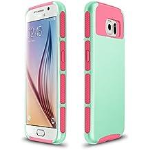Xinda Galaxy S6 Edgecarcasa antigolpes doble capa resistente carcasa Armor PC caso duro para Samsung Galaxy S6 Edge, Light Blue+Rose,