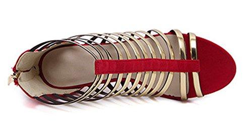Aisun Damen Modisch Metallic Riemen Reissverschluss Offene Sandalen Pumps Rot