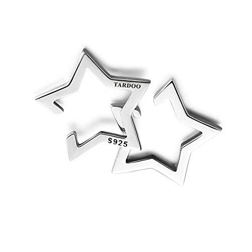 Tardoo 925 Sterling Silber Stern Ohrringe Fake-Piercing Ohrclip Ohr Helix Ohrstulpe Knorpel Tragus Damen Herren Universal (Sterling Silber Ohr Piercing)