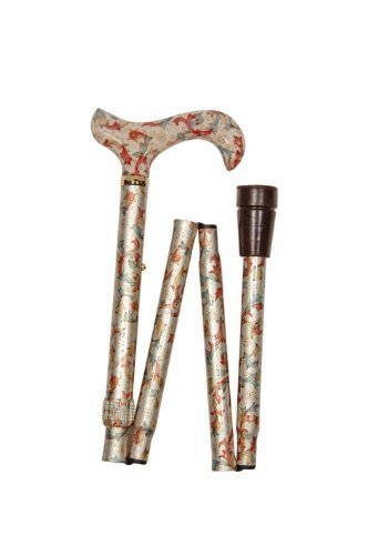 Ladies Adjustable Folding Floral Walking Stick Cane - Cream Colour by Classic Canes