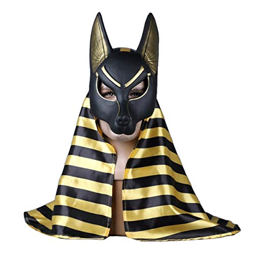 QQWE Sensenmann Anubis Maske Wolfskopf Cosplay Maske Halloween Weihnachtsshow Performance Movie Game Mask Requisiten,B-OneSize (Machen Anubis Kostüm)