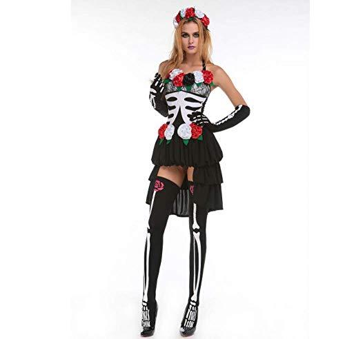 Kostüm Scary Übergröße Skelett - WXJWPZ Mechanische Knochen Schädel Kostüm Frauen Halloween Outfit Skeleton Kostüme Plus Size Overall Scary Bodysuit,XL