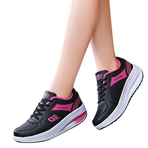 OHQ Chaussures à Bascule, pour Femmes, De Sport Mode Rose Noir Rouge Rehaussant des Bascule Bas Culotte Palladium Hiver Aigle Garcon Talon Pas Cher Tamaris