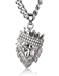 """Halukakah """"KINGS LANDING"""" Men's 18k Real Gold Plated Crown Lion Pendant Necklace with FREE Rope Chain 30"""""""