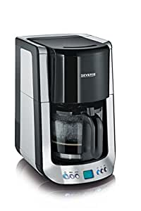 Severin 4460 Supreme Cafetière Programmable Inox Brossé Noir 1000 W 31 x 25,5 x 36 cm 1,4 L