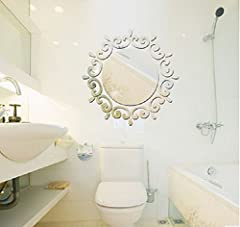 Idea Regalo - Revesun £ ¨ argento) Mirror Wall Stickers soggiorno camera da letto sfondo TV Stereoscopico cerchio specchio decorativo adesivi arredo decorazioni fai da te decalcomanie, (Silver)46*46CM 3D Mirror Stickers